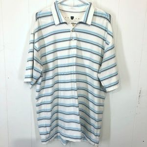 NIKE GOLF DRY FIT Polo White & Blue Shirt ~sz L